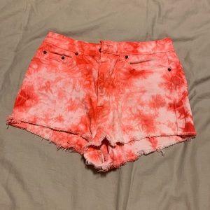 BDG Red Tie Dye High Rise Cheeky Shorts